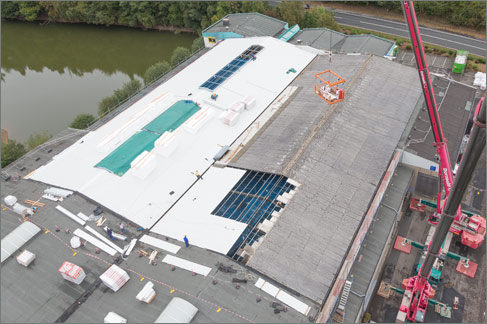 Dach sanierung Industriehalle Draufsicht