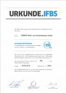 IFBS Zertifikat Sinner Stahlbau 2020