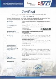 Zertifikat EN 1090-1: 2009+A1:2011 Werkseigene Produktionskontrolle