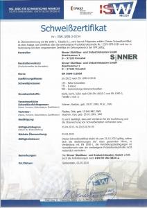 Schweißzertifikat EN 1090-2:2008+A1:2011