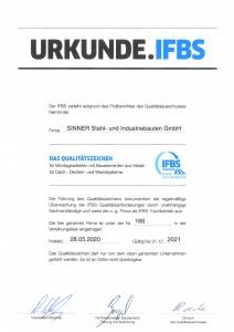 IFBS Zertifikat Sinner Stahlbau 2021